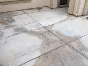 Water damage, discolored concrete