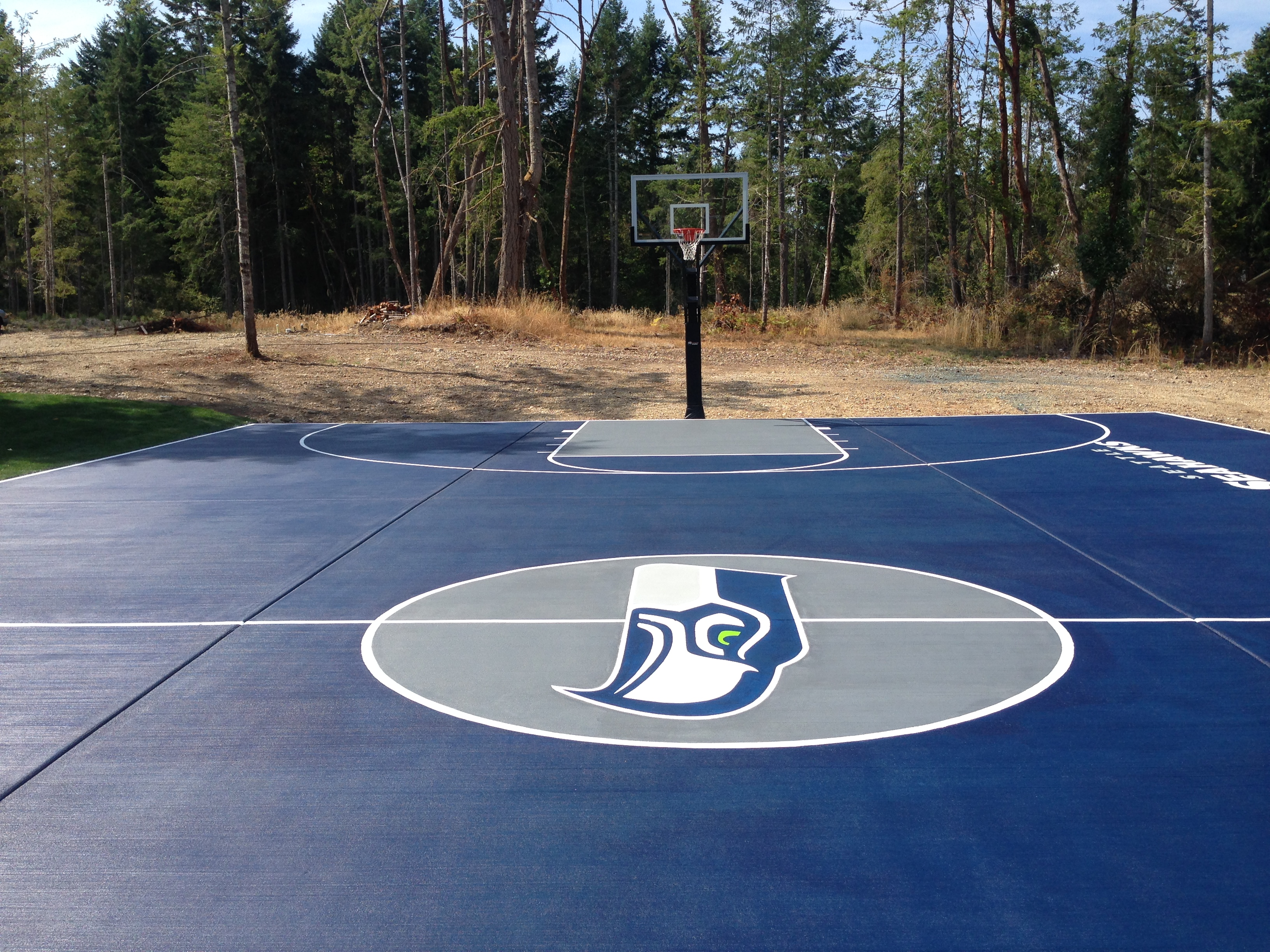 Seahawks fan stains personal basketball court newlook for Personal basketball court